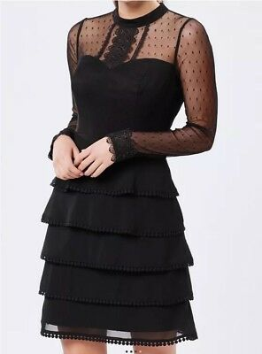 Review Black Lace Sleeve Dress Sz 16 Current Tag Worn Once As New