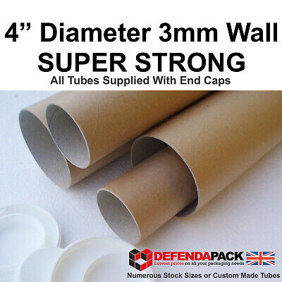 """4 14"""" L x 4"""" Diameter 355 x 100mm 10cm Wide Strong 3mm WALL Postal Tubes Poster"""