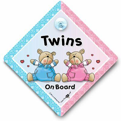 Twins On Board Car Sign, Baby On Board Sign, Suction Cup Car Sign, One of Each