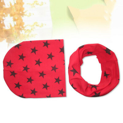 2pcs Autumn Winter Stars Baby Hats For Newborn Baby With Cotton Scarf Warm 8C