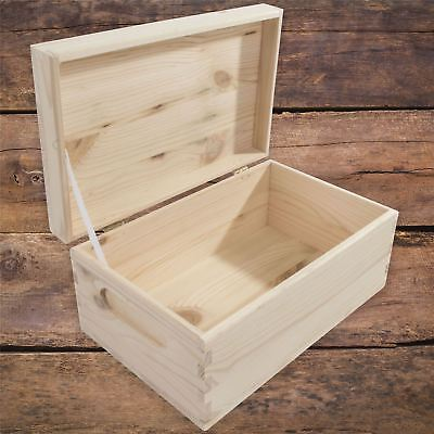 Small Rectangular Wooden Storage Box With Lid And Handles To