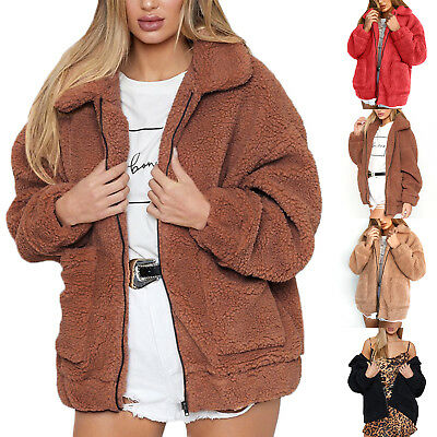 Women Teddy Bear Fleece Coat Ladies Bomber Jacket  Wool Coat Zip Up Winter S-3XL