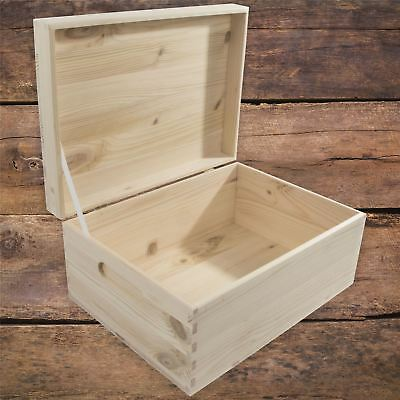 Large Rectangular Wooden Storage Box With Lid And Handles To Decorate Craft DIY