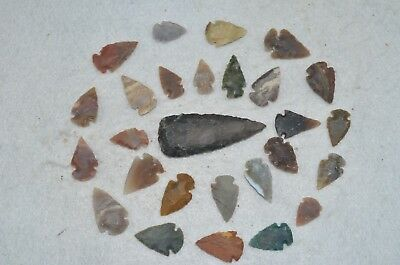 "27 PC Flint Arrowhead Ohio Collection Points 1-3"" Spear Bow Knife Hunting Blade"
