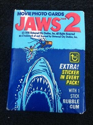 1978 JAWS 2 *** TOPPS ** Wax Pack unopened Bubblegum Trading Cards sticker (#51)