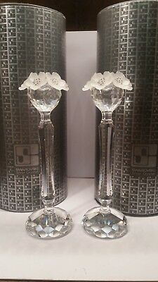 Swarovski Retired Crystal Daisy Flower Candle Holders Set Of 2 In Box