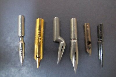 """6 Antique Dip Pen Nibs English French - Perry """"Judges' Own"""" Poure Blanzy"""