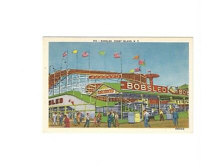 Bobsled roller coaster Coney Island NY postcard unmailed amusement park