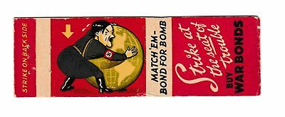 1940's WWII HITLER Strike at the Seat of Trouble MATCHBOOK COVER Baltimore