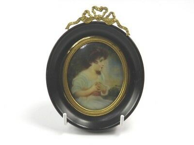 Antique 19th century portrait miniature painting young girl in landscape