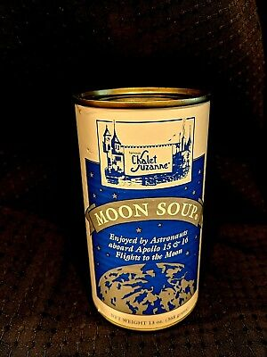 """Vintage FL Chalet Suzanne """"MOON SOUP"""" Unopened Can Apollo16 NASA trips 71 & 73"""