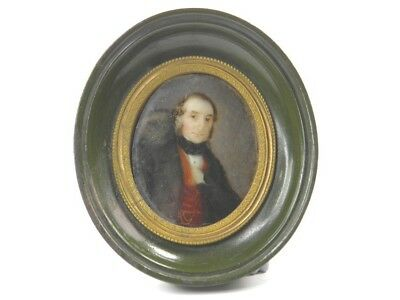 Antique 19th century portrait miniature oil painting of a seated gentleman