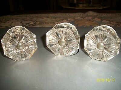 """SET OF 3 ANTIQUE PRESSED SANDWICH  GLASS  DRAWER KNOBS-  2 1/4"""" WIDE- 1800s"""
