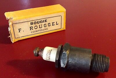 "Antique  ""BOUGIE F. ROUSSEL ""   SPARK PLUG N.O.S. WITH BOX"