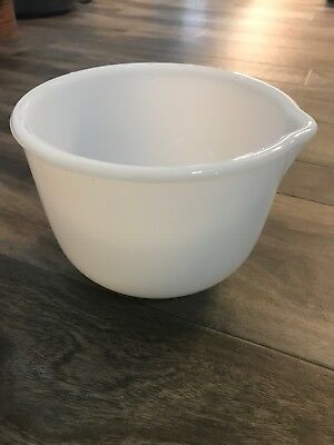 Vintage Sunbeam by Glasbake White Milk Glass Mixing Bowl with Pour Spout #12