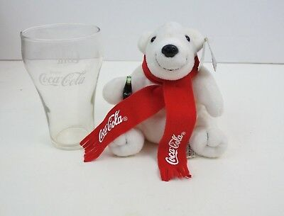 1998 Coca Cola Plush Polar Bear with Coke Glass