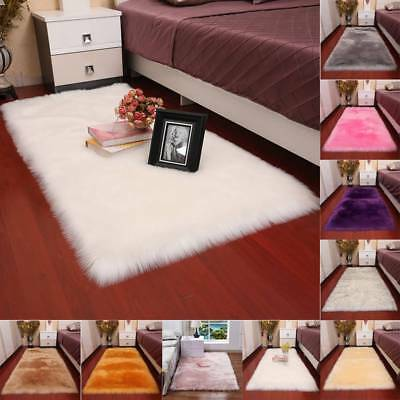 Fluffy Rugs Anti Skid Shaggy Area Rug Dining Room Carpet Floor Mat Home Bedroom