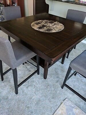 Dining table + 4 high chairs. Black-Used. Local Pickup - 94596. NO SHIPPING