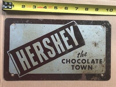 """1960s? HERSHEY PENNSYLVANIA front booster license plate   """"The Chocolate Town"""""""