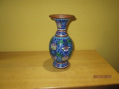 Alte Cloisonne Emaille Chinesische Vase Metall China Blumenmuster Kupfer Messing