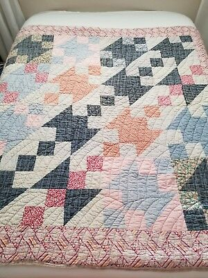 Vintage Country Quilt Machine And Hand Stitched  Peach Blue 66 X 68