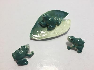 3 Grenouilles Verte Porcelaine Nenuphar Amphibiens Animal Objet Collection Mare