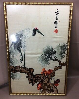 Picture Crane Vintage Asian Chinese Japanese Embroidered
