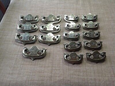 Lot of 17 Vintage Brass  Drawer Pulls Keeler Brass Co USA Flower FREE SHIPPING