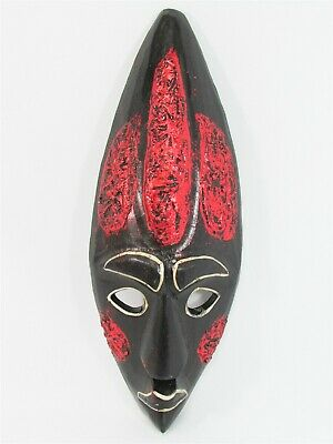 """Tribal Mask 12"""" Wooden Hand Carved & Painted Bali Indonesia Wood Red"""