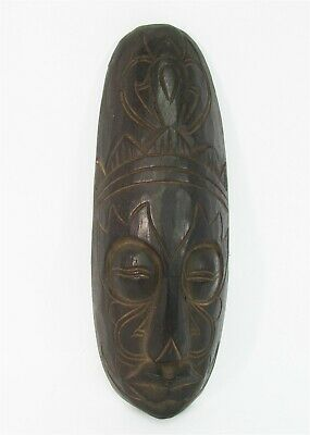 """Tribal Mask 12"""" Wooden Hand Carved & Painted Bali Indonesia Wood Black"""