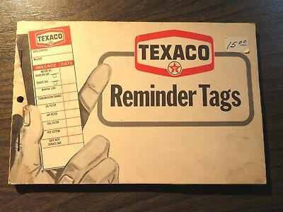 Vintage Texaco Gas Service Station Reminder Tags Book - Doorjam Oil Stickers