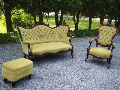 Antique COBLENTZ French Victorian Rococo Green 3PC Sofa Settee Couch Chair Set