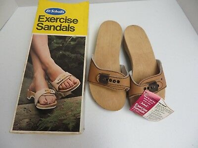 11b19573111a NIB DR SCHOLLS size 6 Natural Wheat Leather Wood Original Exercise Sandals  Shoes