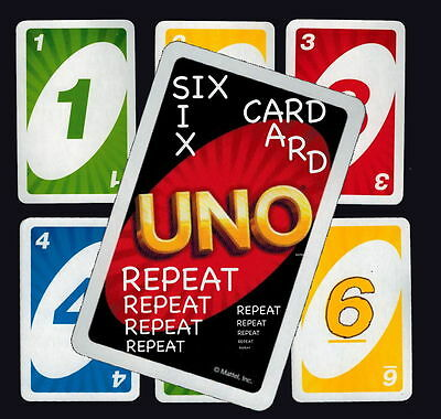 Six-Card-Repeat By The Numbers • handmade with UNO cards AND PATTER • returnable