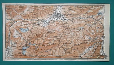 1936 MAP - GERMANY Wetterstein Mountains Garmisch-Partenkirchen & Bavarian Alps