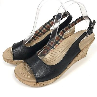 ab1f94ec651 Crocs Size 9 A-Leigh Leather Wedge Sandals Cork Open Toe Black Shoes  Slingback