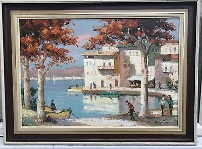 1960/70s FRENCH IMPRESSIONIST OIL PAINTING OF HARBOUR - Doyly John