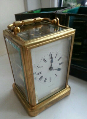 Very Attractive Rare Drocourt Bell Striking Carriage Clock with Travel Case