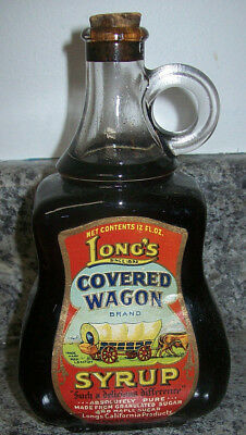 """Long's Covered Wagon Clear Glass """"Cleary's"""" Pure Maple Syrup Bottle"""