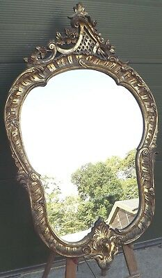 Decorative Gilt-Framed Wall Mirror in the Antique Rococo Style (h:117cm, w:68cm)