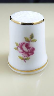 Royal Adderley Bone China Pink Rose Flower Sewing Thimble Made In England