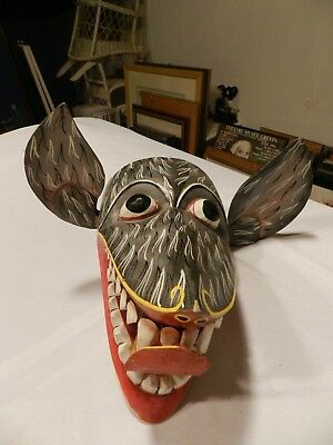 Vintage Hand Carved MASK Donkey? Jackel?  Leather tongue...very unusual!