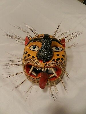 """Vintage/Antique Hand Carved Leopard MASK with """"Hair and Teeth""""--Fantastic!"""