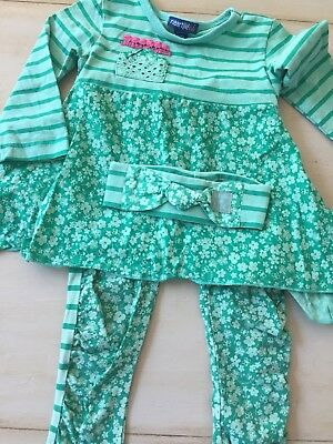 Euc Naartjie Kids Outfit Headband 12-18 18-24 Green Floral Stripes