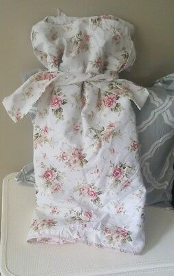 Vintage Chic Pink Cottage Rose Floral White Balloon Shade Tie Curtain Valance B