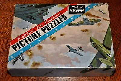 """World War 2 """"Fighters For Freedom"""" Picture Puzzle,Complete,1944"""