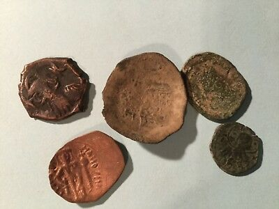 Lot of 5 mixed Genuine Byzantine Coins