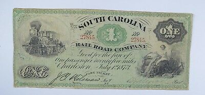1873 $1.00 EARLY State of South Carolina Bank Note - Crisp *660
