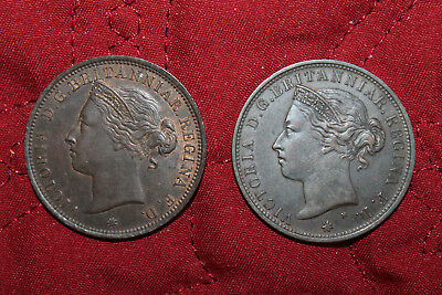 Jersey United Kingdom 1877 & 1894 Lot Of 2 Queen Victoria 1/12Th Shilling