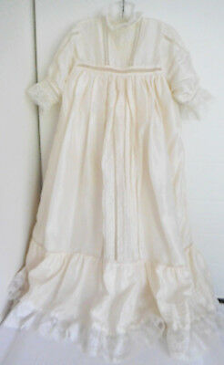 Vintage 100% Silk Cream Color Lace Trim Christening Baby Gown Ophelia's World